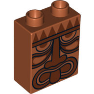 [New] Brick 1 x 2 x 2 with Tribal Mask Pattern, Dark Orange. /Lego DUPLO. Parts. 4066pb443