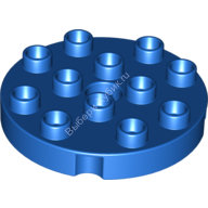[New] Plate Round 4 x 4 with 1 Hole with Locking Ridges, Blue. /Lego DUPLO. Parts. 98222