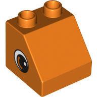 """[New] Кубик скошенный 2х2 """"Глаза"""" оранжевый. /Lego DUPLO. Parts."""
