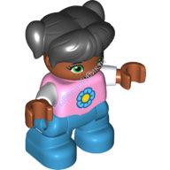 [New] Девочка мулатка, черные волосы, два хвостика, челка, розовая безрукавка с цветком. /Lego DUPLO. Parts.