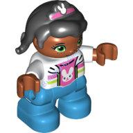[New] Девочка мулатка черные волосы, ободок с зайчиком. /Lego DUPLO. Parts. 6174731