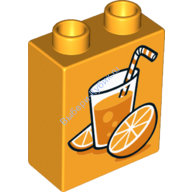 [New] Кубик 2х1 Апельсновый сок темно-желтый. /Lego DUPLO. Parts. 6101120
