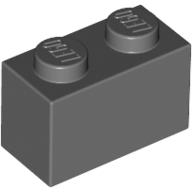 [New] Brick 1 x 2, Dark Bluish Gray (3004 / 4211088)