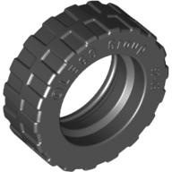 [New] Tire 17.5mm D. x 6mm with Shallow Staggered Treads - Band Around Center of Tread, Black (92409 / 4617848)