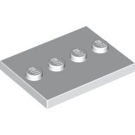 [New] Tile, Modified 3 x 4 with 4 Studs in Center, White (88646 / 6132741)