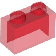 [New] Brick 1 x 2 without Bottom Tube, Trans-Red (3065 / 306541 / 6244905)