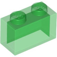 [New] Brick 1 x 2 without Bottom Tube, Trans-Green (3065 / 306548 / 6244908)