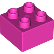 [New] Brick 2 x 2, Dark Pink. /Lego DUPLO. Parts. 3437