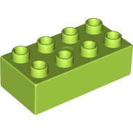 [New] Brick 2 x 4, Lime. /Lego DUPLO. Parts. 3011