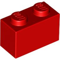 [New] Brick 1 x 2, Red. /Lego. Parts. 3004