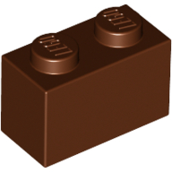 [New] Brick 1 x 2, Reddish Brown. /Lego. Parts. 3004