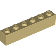 [New] Brick 1 x 6, Tan. /Lego. Parts. 3009