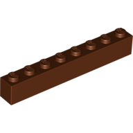 [New] Brick 1 x 8, Reddish Brown. /Lego. Parts. 3008