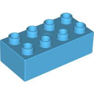 [New] Brick 2 x 4, Medium Azure. /Lego DUPLO. Parts. 3011