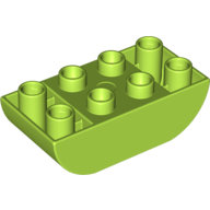 [New] Brick 2 x 4 Curved Bottom, Lime. /Lego DUPLO. Parts.