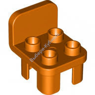 [New] Furniture Chair with 4 Studs and Rounded Back, Orange. /Lego DUPLO. Parts. 12651