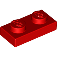 [New] Plate 1 x 2, Red. /Lego. Parts. 3023