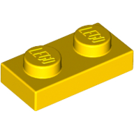 [New] Plate 1 x 2, Yellow. /Lego. Parts. 3023