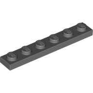 [New] Plate 1 x 6, Dark Bluish Gray. /Lego. Parts. 3666