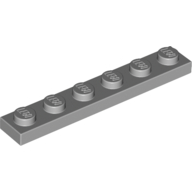 [New] Plate 1 x 6, Light Bluish Gray. /Lego. Parts. 3666