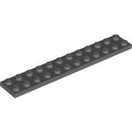 [New] Plate 2 x 12, Dark Bluish Gray. /Lego. Parts. 2445
