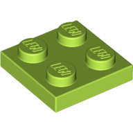[New] Plate 2 x 2, Lime. /Lego. Parts. 3022