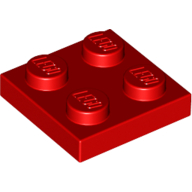 [New] Plate 2 x 2, Red. /Lego. Parts. 3022