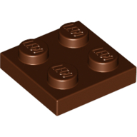 [New] Plate 2 x 2, Reddish Brown. /Lego. Parts. 3022