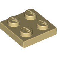 [New] Plate 2 x 2, Tan. /Lego. Parts. 3022