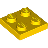 [New] Plate 2 x 2, Yellow. /Lego. Parts. 3022