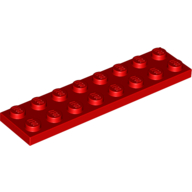 [New] Plate 2 x 8, Red. /Lego. Parts. 3034