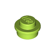 [New] Plate, Round 1 x 1 Straight Side, Lime. /Lego. Parts. 4073