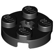 [New] Plate, Round 2 x 2 with Axle Hole, Black. /Lego. Parts. 4032