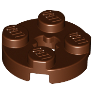 [New] Plate, Round 2 x 2 with Axle Hole, Reddish Brown. /Lego. Parts. 4032
