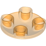 [New] Plate, Round 2 x 2 with Rounded Bottom (Boat Stud), Trans-Orange. /Lego. Parts. 2654