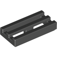 [New] Tile, Modified 1 x 2 Grille with Bottom Groove / Lip, Black. /Lego. Parts. 2412b