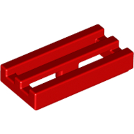 [New] Tile, Modified 1 x 2 Grille with Bottom Groove / Lip, Red. /Lego. Parts. 2412b