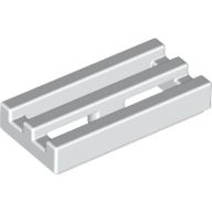 [New] Tile, Modified 1 x 2 Grille with Bottom Groove / Lip, White. /Lego. Parts. 2412b