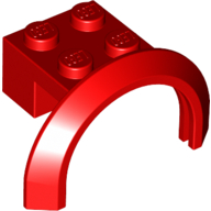 [New] Vehicle, Mudguard 4 x 2 1/2 x 1 2/3 with Arch Round, Red. /Lego. Parts. 50745