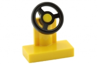 [New] Vehicle, Steering Stand 1 x 2 with Black Steering Wheel, Yellow. /Lego. Parts. 3829c01
