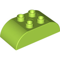 [New] Brick 2 x 4 Curved Top, Lime. /Lego DUPLO. Parts.